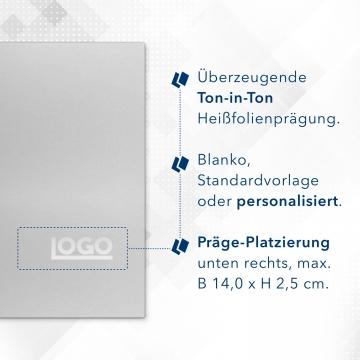 Metallic-Design 3-teilig in Silber mit runder Metallklammer (re.) und 2 Heftstreifen