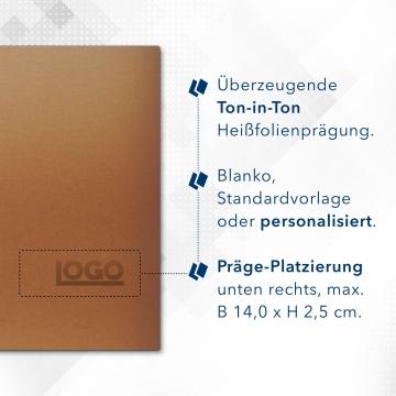 Metallic-Design 3-teilig in Kupfer mit Dreiecktaschen (li.) und 2 Heftstreifen