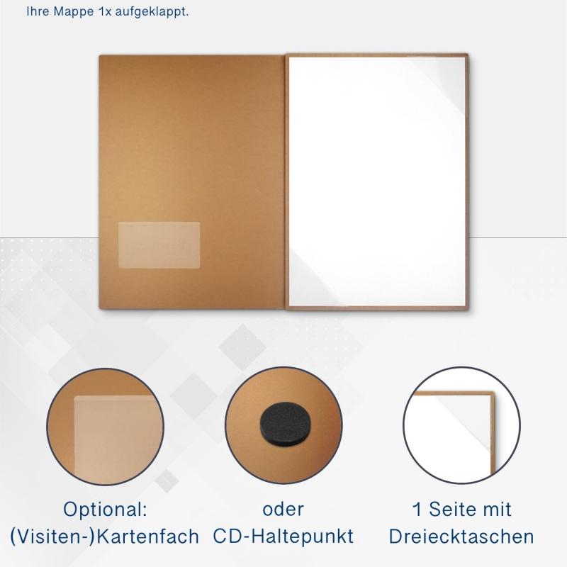 Metallic-Design 3-teilig in Kupfer mit Dreiecktaschen (re.) und 2 Heftstreifen