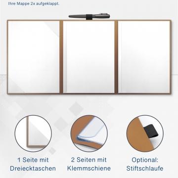 Metallic-Design 3-teilig in Kupfer mit Dreiecktaschen (li.) und 2 Klemmschienen