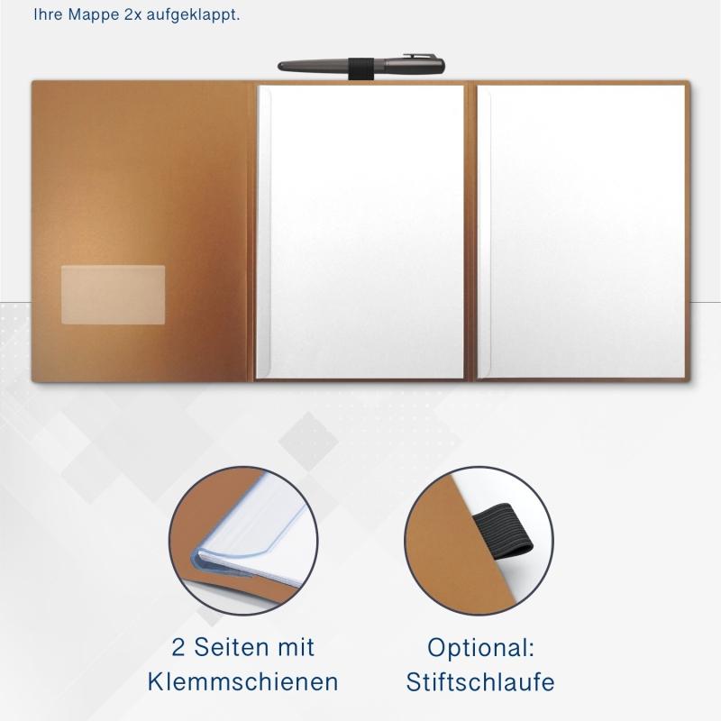 Metallic-Design 3-teilig in Kupfer mit runder Metallklammer (re.) und 2 Klemmschienen