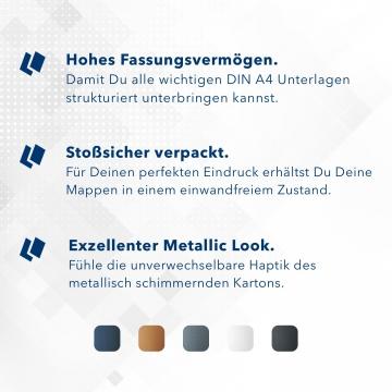 Metallic-Design 3-teilig in Silber mit runder Metallklammer (re.) und 2 Klemmschienen