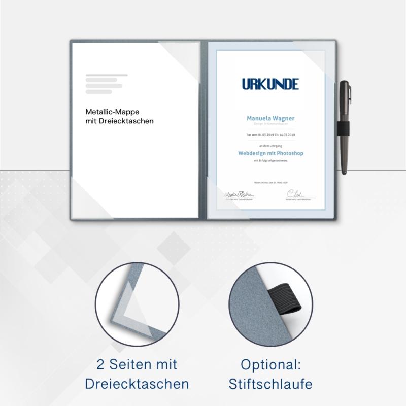 Metallic-Design 2-teilig in Zink mit 2 Seiten Dreiecktaschen