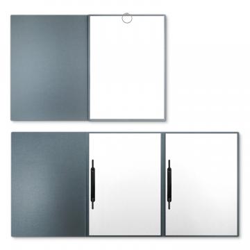 Metallic-Design 3-teilig in Zink mit runder Metallklammer (re.) und 2 Heftstreifen