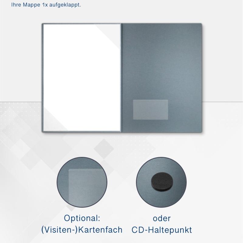 Metallic-Design 3-teilig in Zink mit Dreiecktaschen (li.) und 2 Heftstreifen