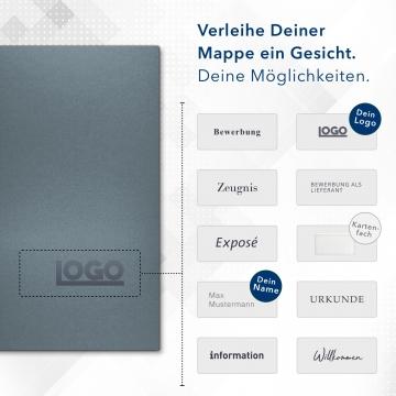 Metallic-Design 3-teilig in Zink mit Dreiecktaschen (re.) und 2 Heftstreifen