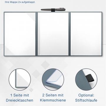 Metallic-Design 4-teilig in Zink mit 2 Seiten Dreiecktaschen und 2 Klemmschienen