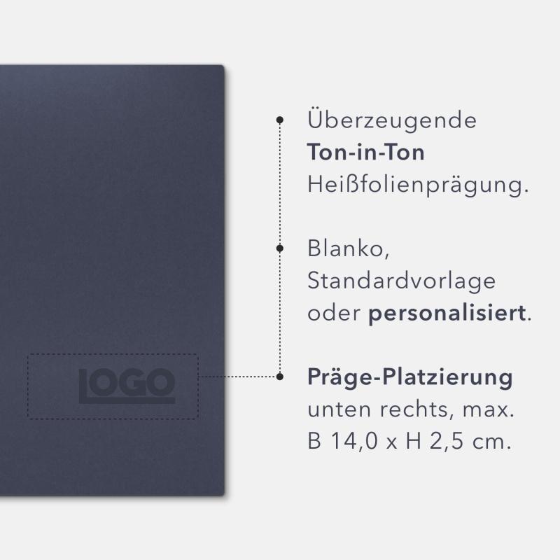 Holzstruktur 3-teilig in Marineblau mit Dreiecktaschen (li.) und 2 Heftstreifen
