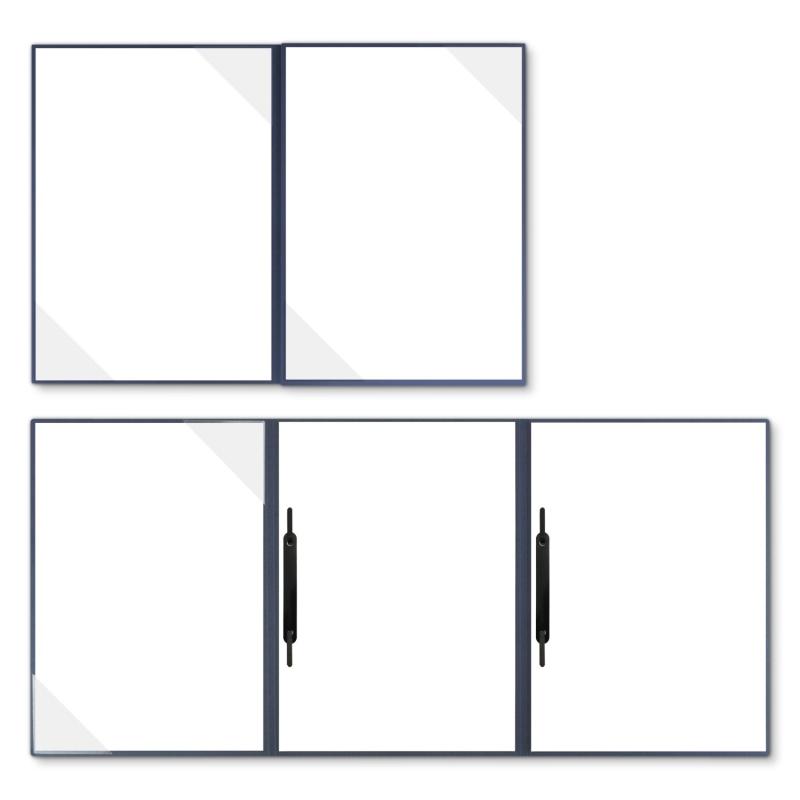 Holzstruktur 4-teilig in Marineblau mit 2 Seiten Dreiecktaschen und 2 Heftstreifen