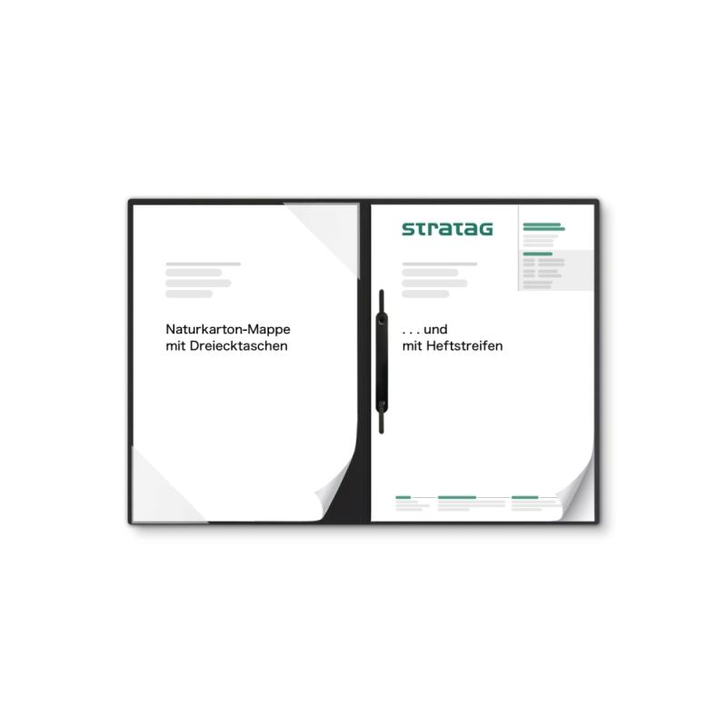 Holzstruktur 2-teilig in Schwarz mit Dreiecktaschen und 1 Heftstreifen