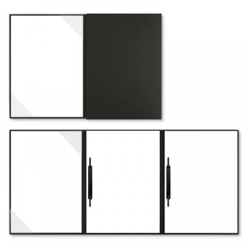 Holzstruktur 3-teilig in Schwarz mit Dreiecktaschen (li.) und 2 Heftstreifen