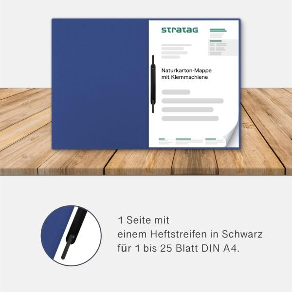 Holzstruktur 1-teilig in Königsblau mit 1 Heftstreifen