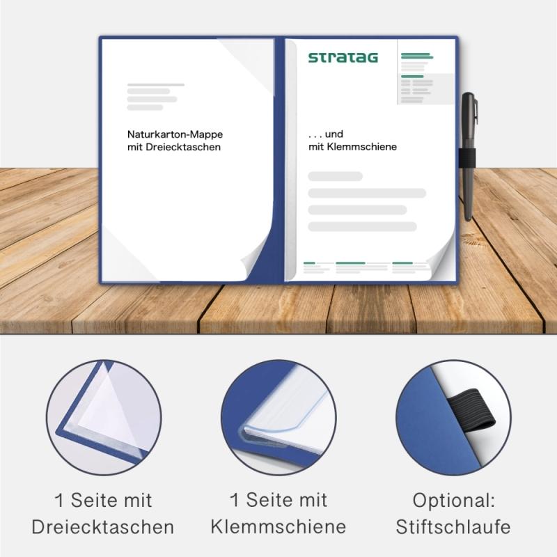 Holzstruktur 2-teilig in Königsblau mit Dreiecktaschen und 1 Klemmschiene