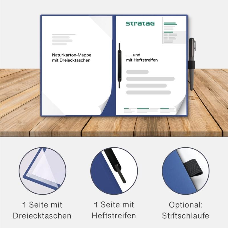 Holzstruktur 2-teilig in Königsblau mit Dreiecktaschen und 1 Heftstreifen