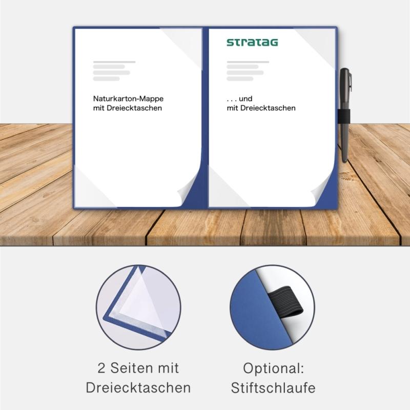 Holzstruktur 2-teilig in Königsblau mit 2 Seiten Dreiecktaschen
