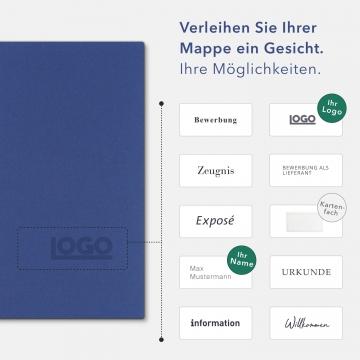 Holzstruktur 3-teilig in Königsblau mit Dreiecktaschen (li.) und 2 Heftstreifen