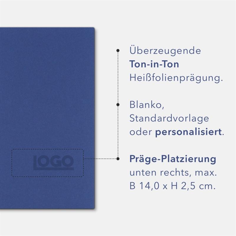 Holzstruktur 3-teilig in Königsblau mit Dreiecktaschen (re.) und 2 Heftstreifen