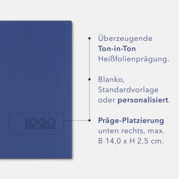 Holzstruktur 3-teilig in Königsblau mit Dreiecktaschen (re.) und 2 Klemmschienen