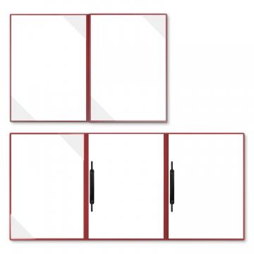 Holzstruktur 4-teilig in Rubinrot mit 2 Seiten Dreiecktaschen und 2 Heftstreifen