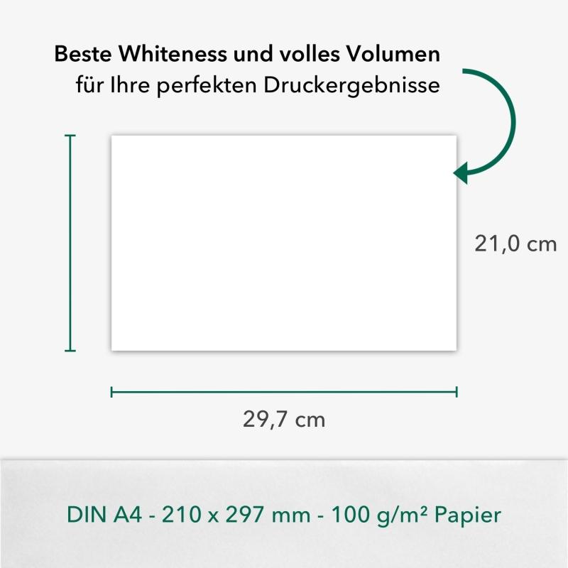 500 Blatt A4 100 g/m² Premium Bewerbungspapier Super White (2x 250 Blatt)