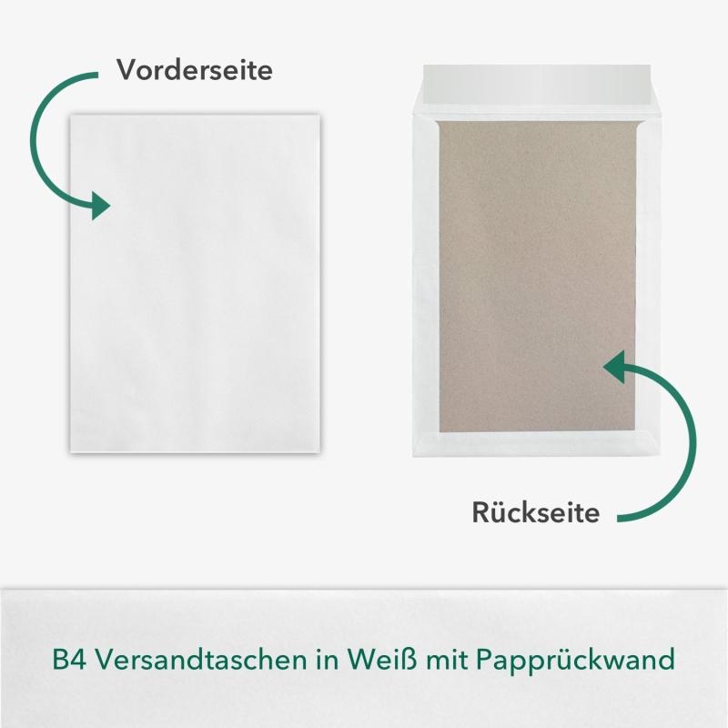 10 Stück B4 Versandtaschen in Weiß mit Papprückwand, 250 x 353 mm