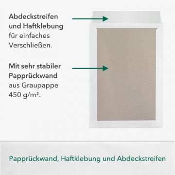 30 Stück B4 Versandtaschen in Weiß mit Papprückwand, 250 x 353 mm