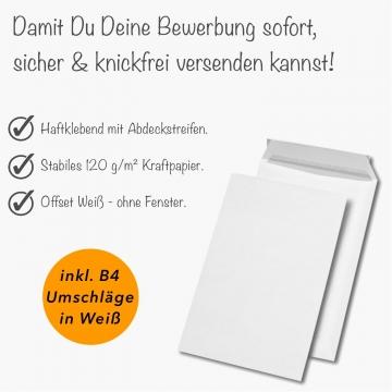 10 Stück 3-teilige Bewerbungsmappen + Bewerbungspapier + B4 Versandtaschen