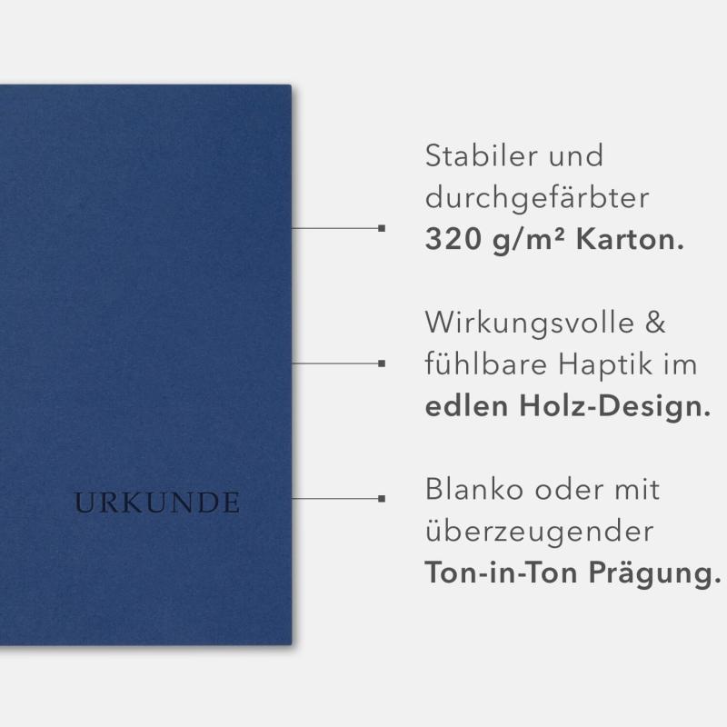 8 Stück Urkundenmappen BL-exclusivdruck® BASIC Holzstruktur