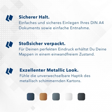8 Stück Urkundenmappen Esclusiva® Basic-plus Metallic-Design