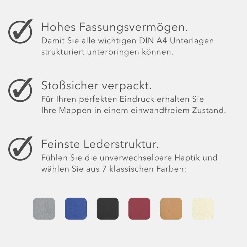 8 Stück Urkundenmappen favorit© Basic Lederstruktur