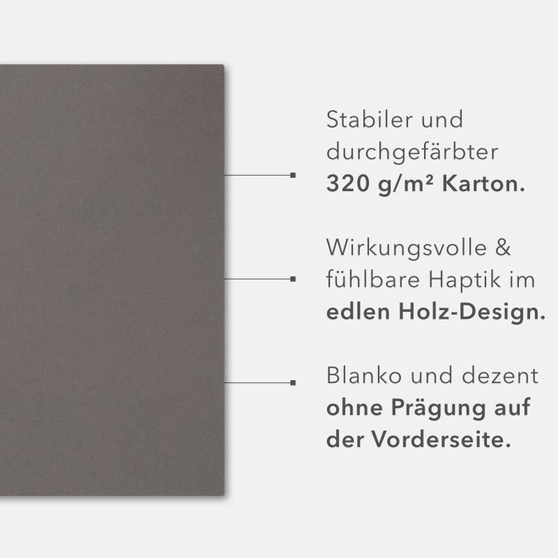 8 Stück Kondolenzmappen BL-exclusivdruck® BASIC-plus Holzstruktur