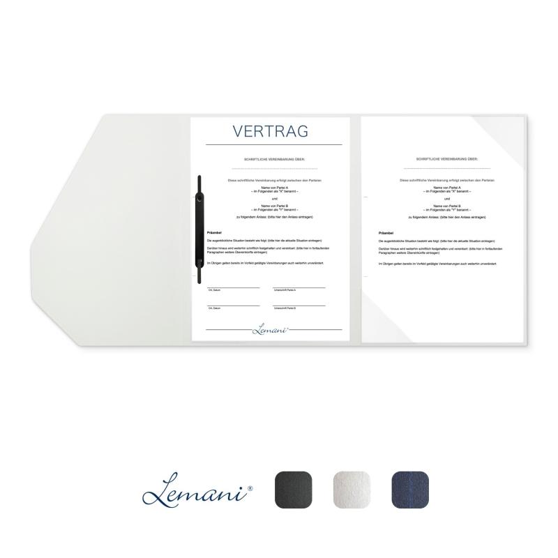 5 Stück Vertragsmappen mit Abheftstreifen Lemani® SMART Textilstruktur