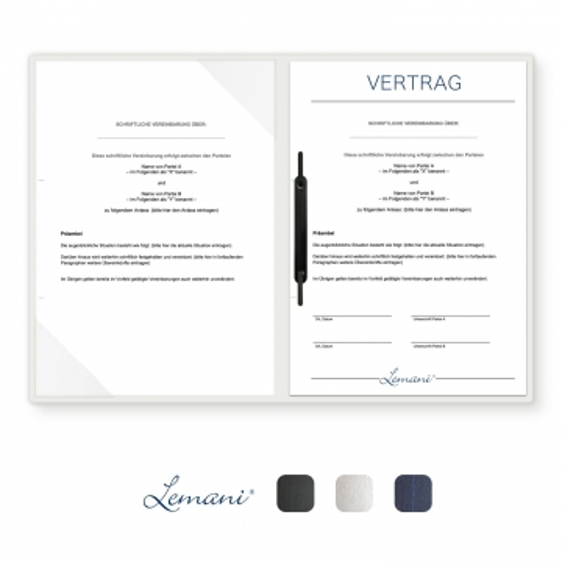8 Stück Vertragsmappen mit Abheftstreifen Lemani® CARISMA Textilstruktur