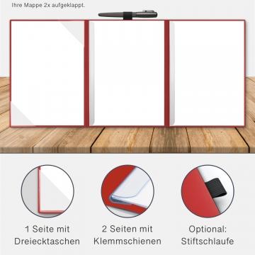 5 Stück 4-teilige Werbemappen BL-exclusivdruck® MEGA-plus Holzstruktur