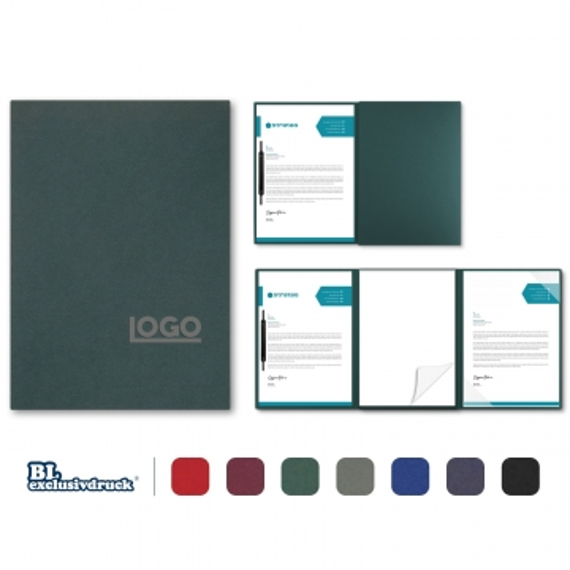 5 Stück 3-teilige Tagungsmappen mit Schreibblock BL-exclusivdruck® SPIRIT Holzstruktur